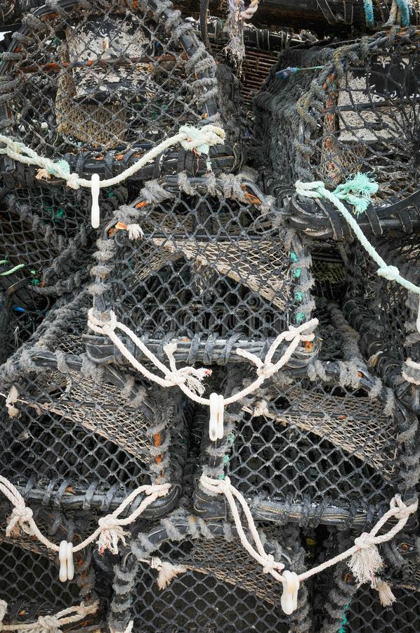 Fishing cages detail. Close up of fishing cages suitable as background royalty free stock photos