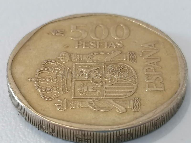Close-up five hundred pesetas Spain stock photos