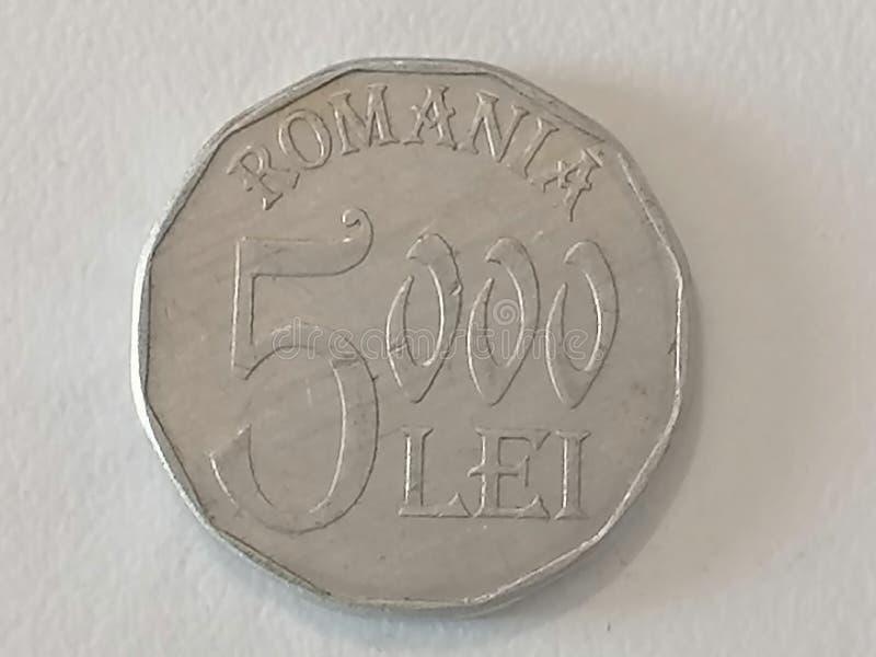 Close-up five hundred Romanian leu coin royalty free stock photo