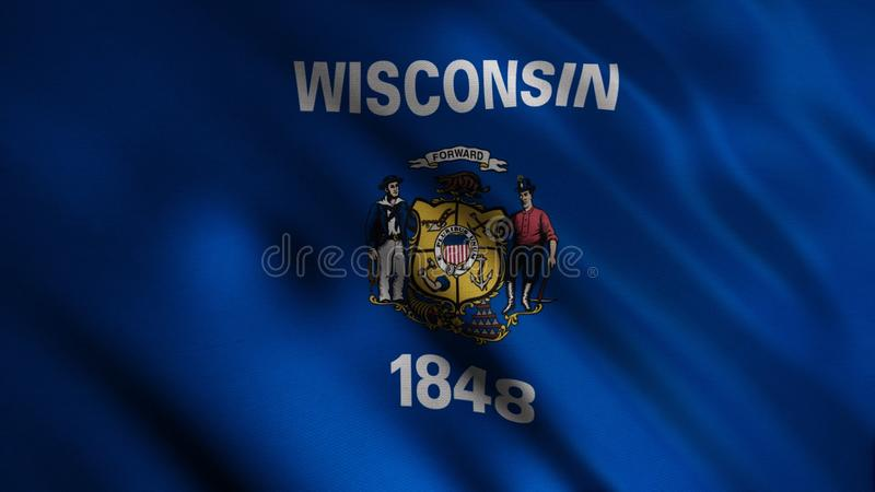Close-up flag of Wisconsin. Animation. Blue flag with centered image printing state, center of which is inscription in royalty free stock photos