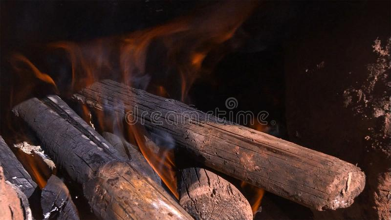 Close Up Of Flaming Logs On Fire royalty free stock image