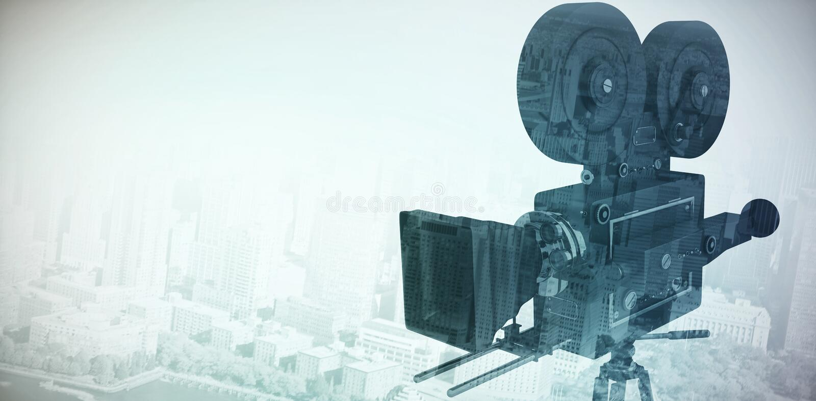Composite image of close-up of flim camera with tripod royalty free stock photography