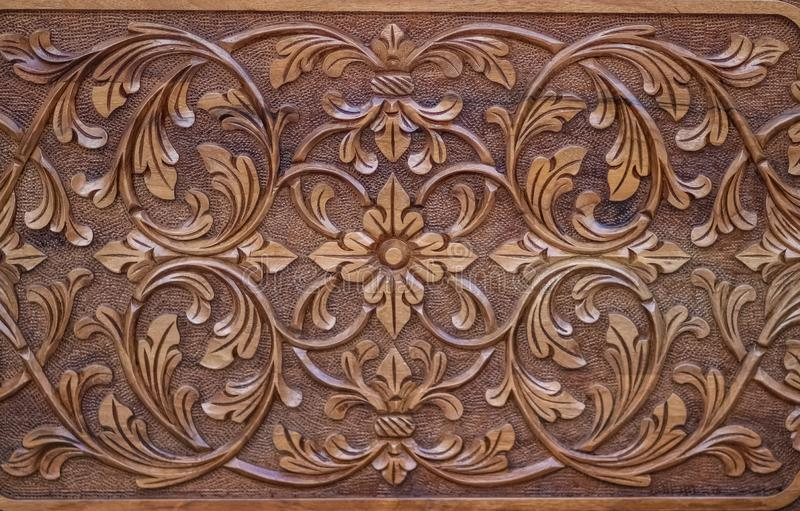 Close up for wood carving. Close up for floral arabesque wood carving stock photos
