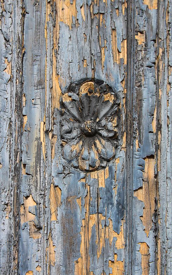 Flower carving in wooden door stock photo