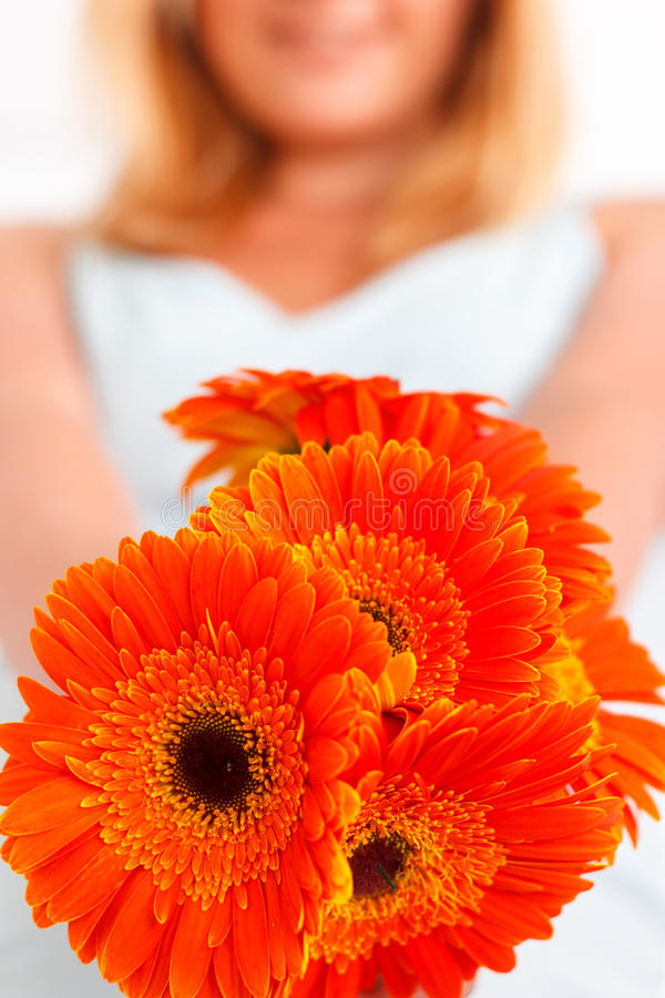 Close up of flowers held by woman royalty free stock photo