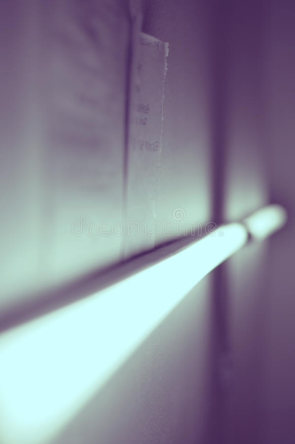 Close-up of fluorescent light tube. In a studio royalty free stock image