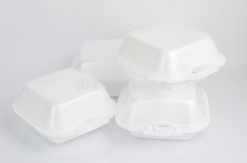 Close up of a foam food containers. On white background royalty free stock images
