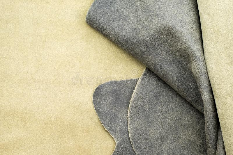 Close up fold grey leather texture background,fabrics Division.  royalty free stock photos