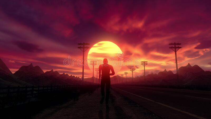 Close up follow shot of man on an empty road running to the sunset. Music video. Close up follow shot of man running to the sunset. Stylized male silhouette on a stock illustration