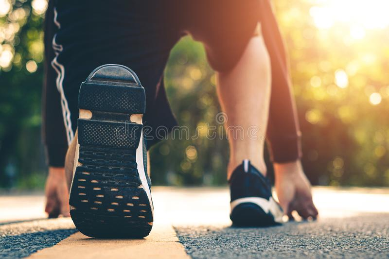 Close up foot women run feet on road in workout wellness stock photography