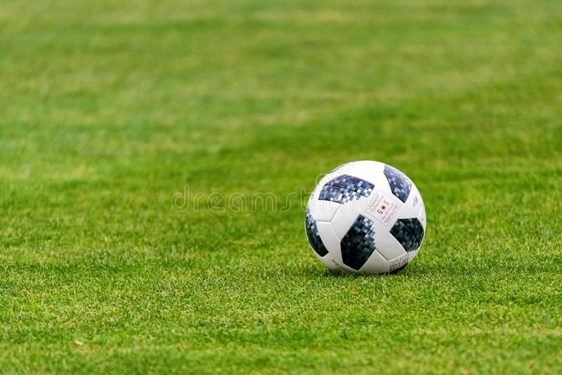 Football ball of World Cup 2018 on green grass stock photography