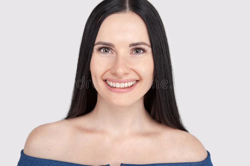 Close up formal portrait of successful gorgeous charming stunning entrepreneur, standing on the pure white background, with smooth stock images