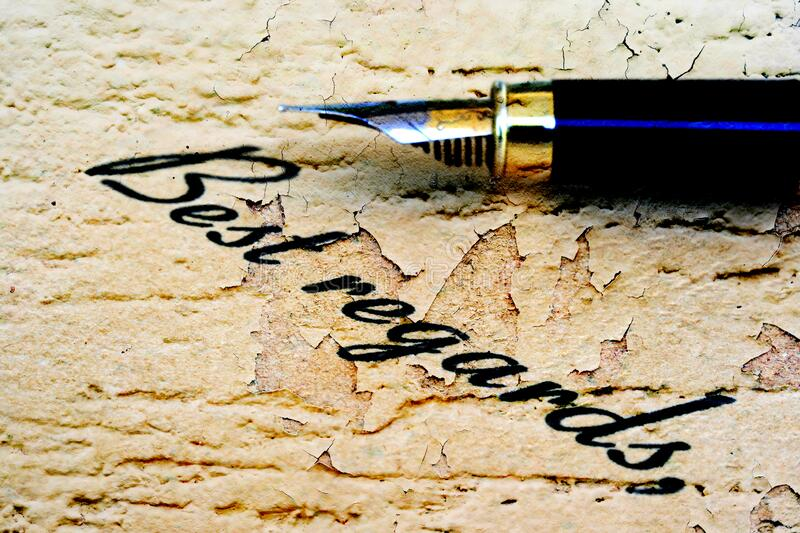 Close up of fountain pen on best regards.  stock photo