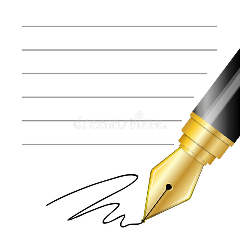 Close up of a fountain pen and signature. Vector Close up of a fountain pen and signature vector illustration