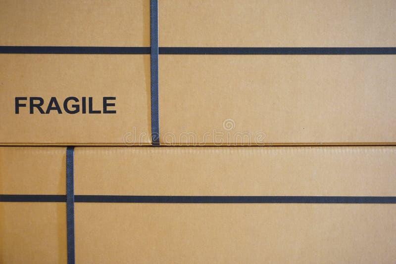 Fragile text on box royalty free stock photos