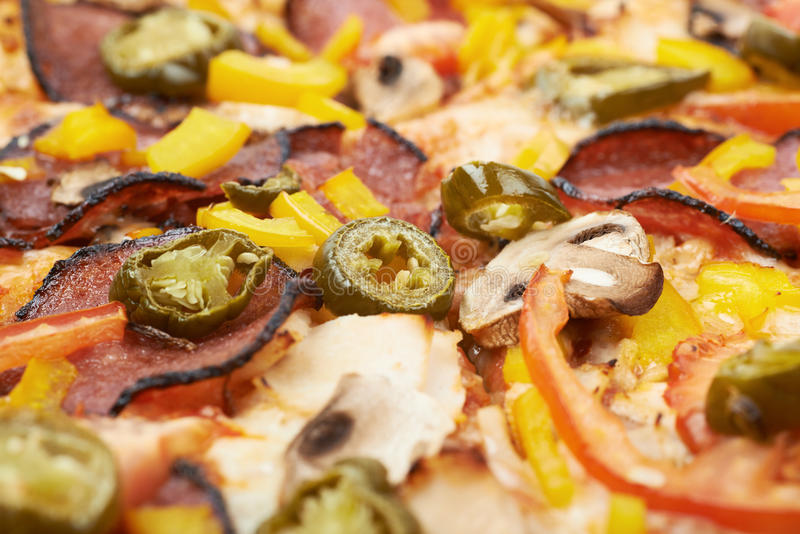 Close-up fragment of a mexican pizza stock photo