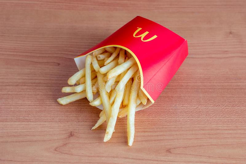 Close up for french fries from McDonald`s. royalty free stock photo