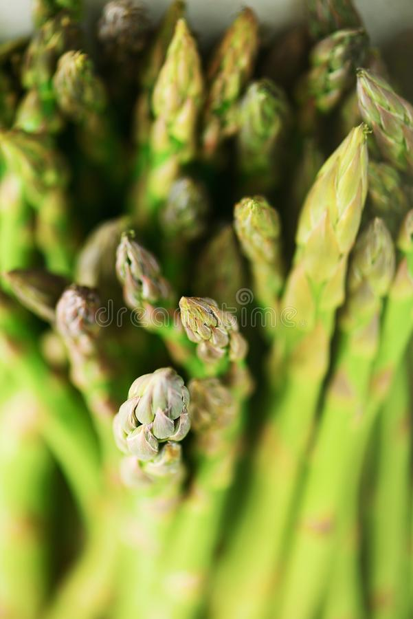 Close up of fresh asparagus. Clean and healthy eating concept. Macro texture of asparagus. Selective focus. stock photo
