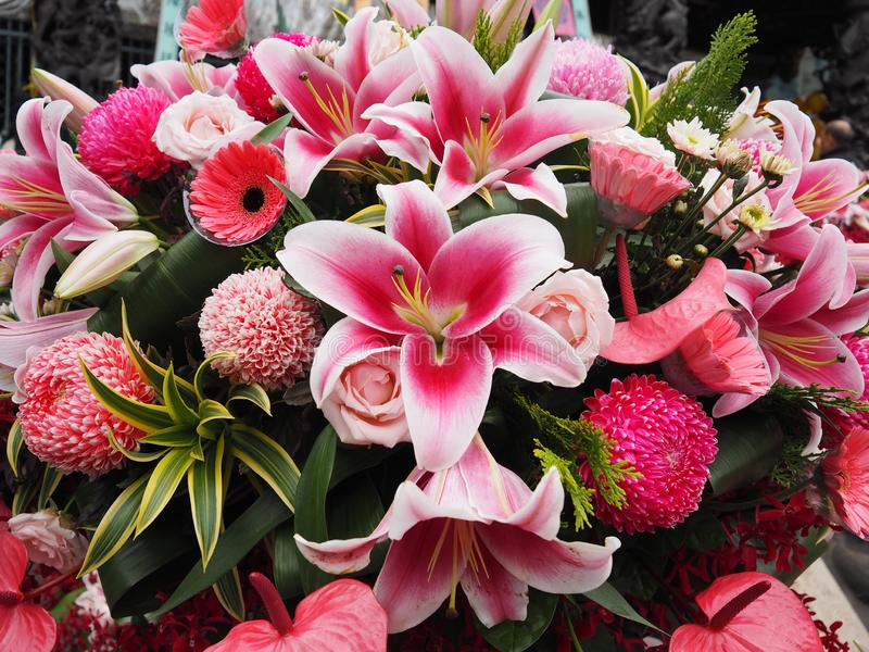 close up Fresh bright pink Colorful flower bouquet royalty free stock photos