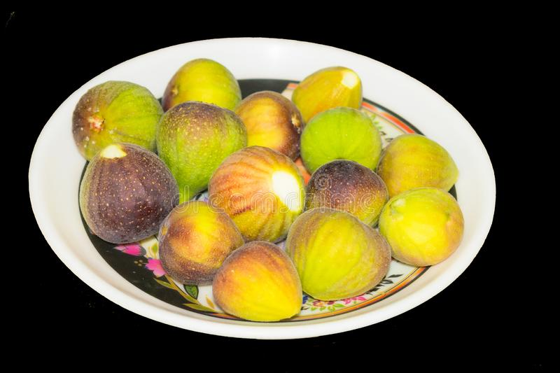 Close up of fresh fig fruit isolated royalty free stock images