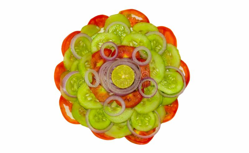 Close up of fresh mixed vegetable salad isolated stock photography