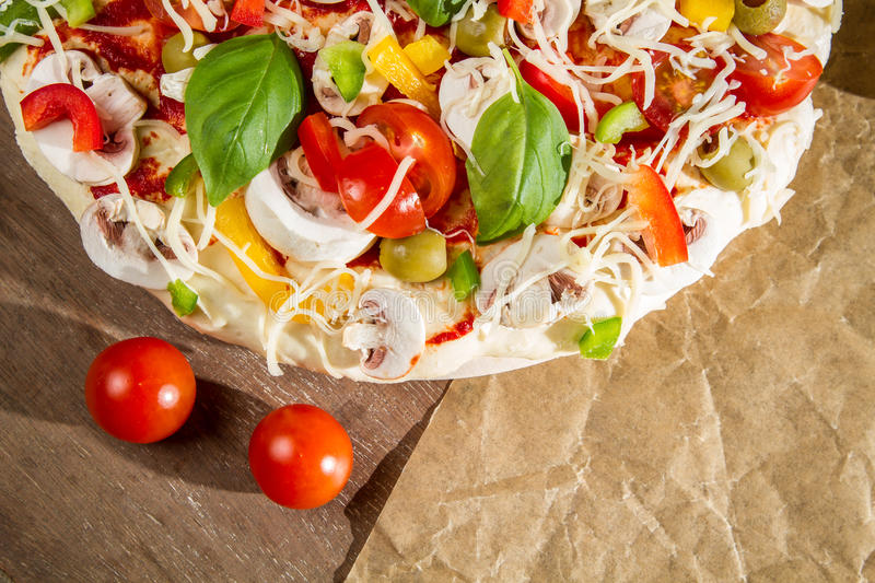 Close-up of fresh pizza royalty free stock photography