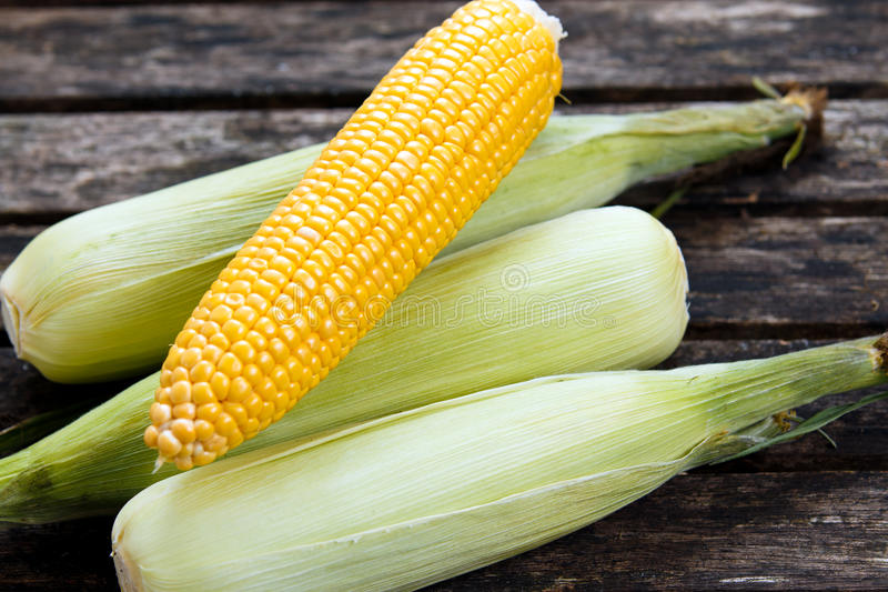 Close up Fresh Ripe Sweetcorn on old wooden table. ready to cook stock image