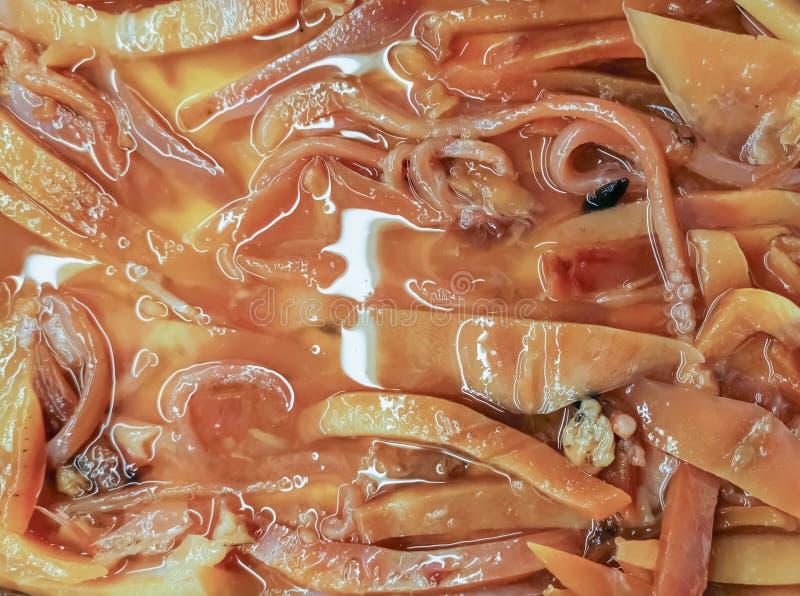 Close up of fresh sliced crisp squid background, for Korean Barbecue grill, yakiniku or sukiyaki royalty free stock images
