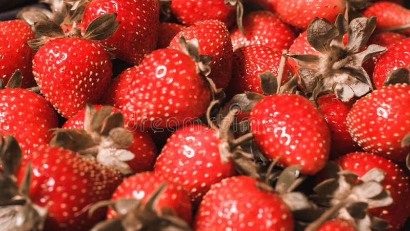 Close up fresh strawberries clear royalty free stock photography