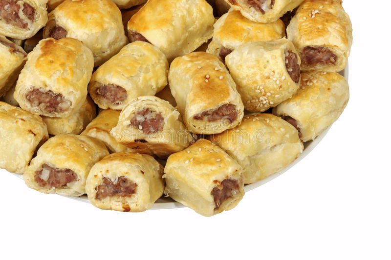 Close up Freshly Baked Homemade Cocktail Sausage Rolls royalty free stock images