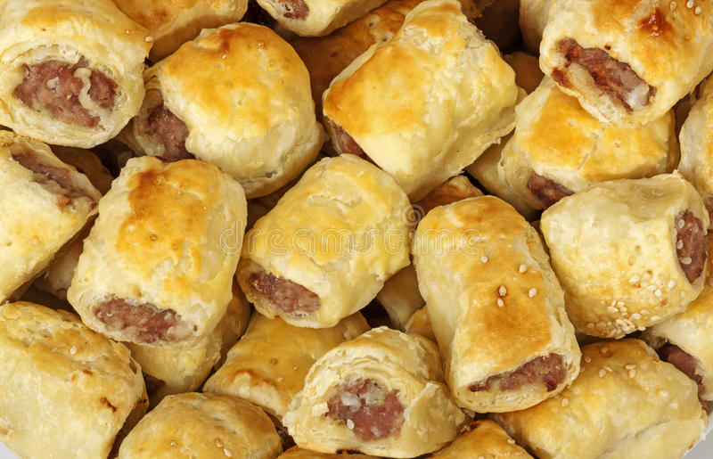 Close up Freshly Baked Homemade Cocktail Sausage Rolls royalty free stock photos