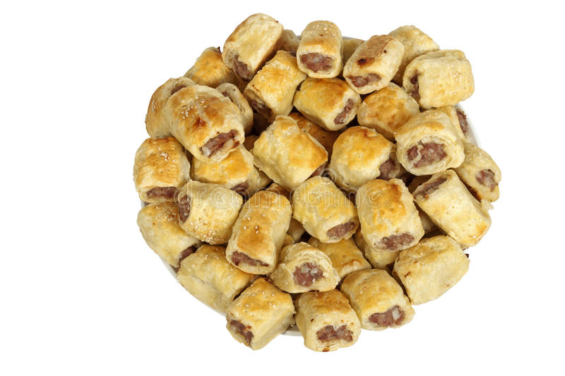 Close up Freshly Baked Homemade Cocktail Sausage Rolls stock photography