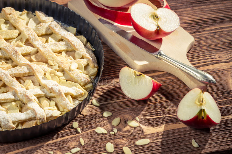 Close-up of freshly peeled apples for apple pie stock photography