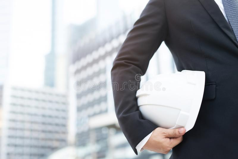 Close up front view of engineering business man suit contractor construction worker royalty free stock image