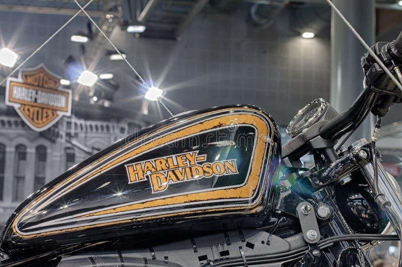 Close up fuel tank of motorcycle Harley Davidson stock photo