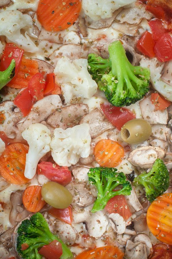 Close-up full frame shot of delicious vegetariana pizza. Delicious italian fast food. Top view royalty free stock images