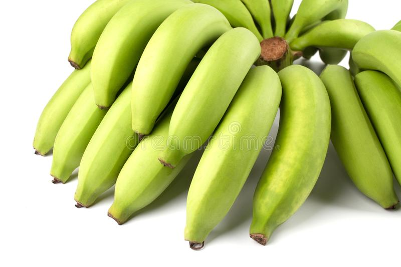 Yellow Green Banana Comp. Close up Full Green Banana Comp isolated on white background stock photo