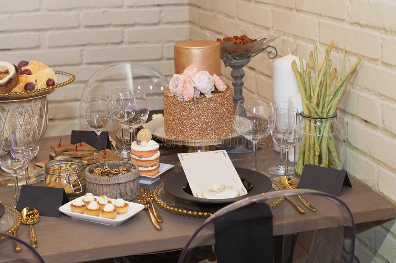 Close up of a fully set banquet table stock photo
