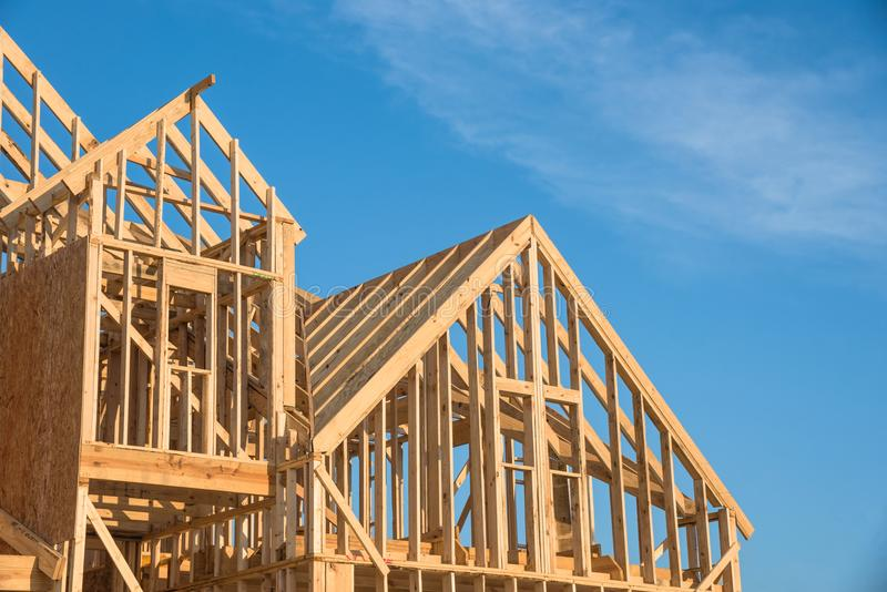 Close-up Gable Roof Wooden House Construction Stock Image - Image of ...