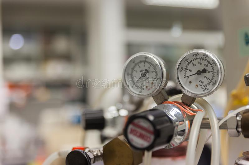 Gauges And Valve On Old Nitrogen Gas stock photography