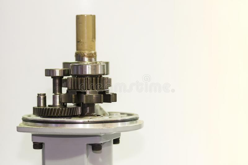 Close up gear set of motor pump for industrial on white background with copy space.  stock photos