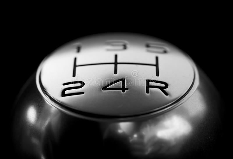 Close-up of Gear Shift over Black Background stock photos