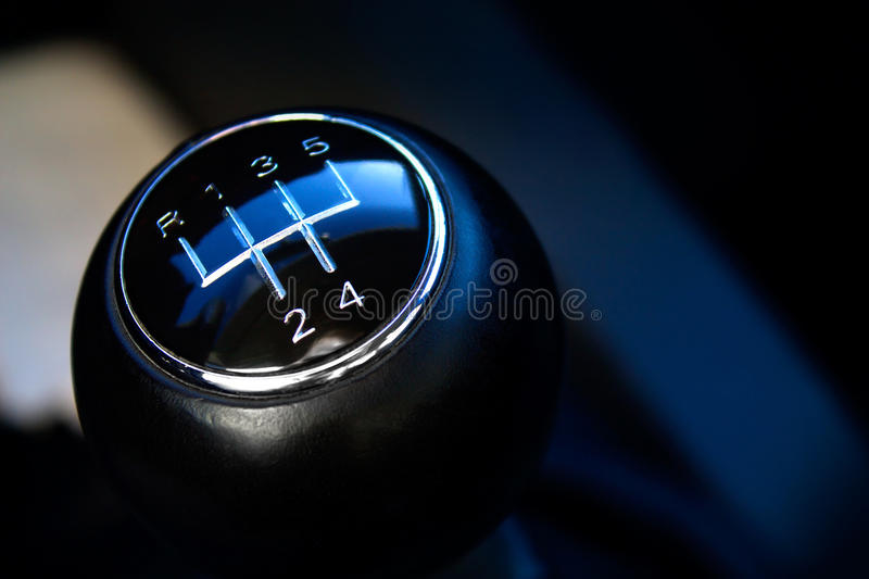 Close-up of gear stick. Close-up of gear stick from manual gearbox royalty free stock photography