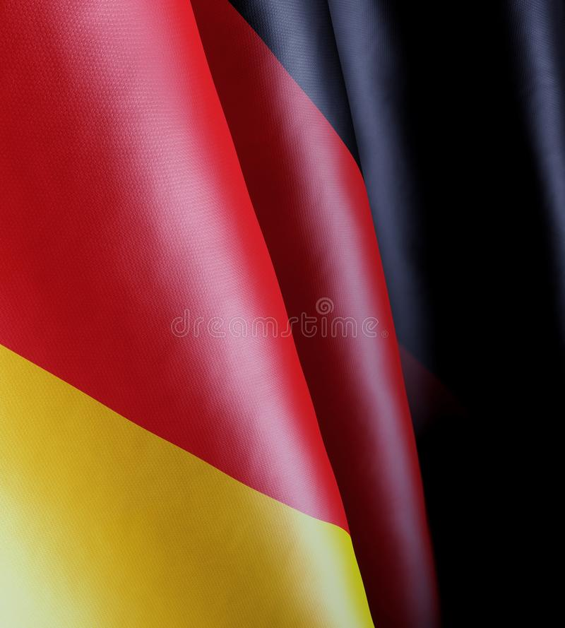 Close-up of the German state flag. 3d illustration of a close-up of the German state flag moving wave-like in the wind stock images