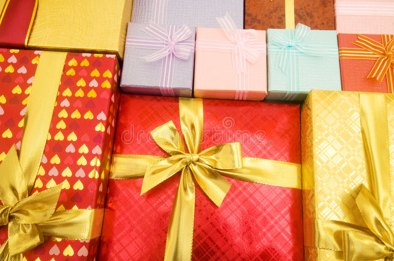 Close up of gift boxes royalty free stock photo