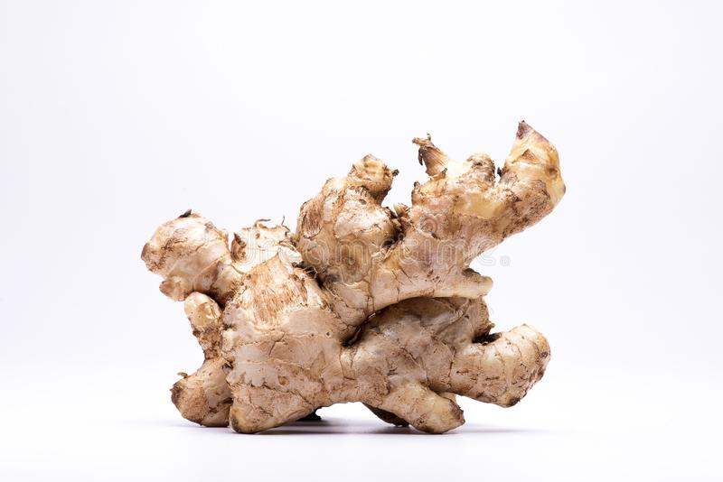 Close up of Ginger bulb. Closeup of ginger bulb isolated in white background stock image