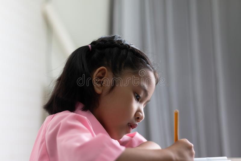 Close up the girl is doing homework intently stock images