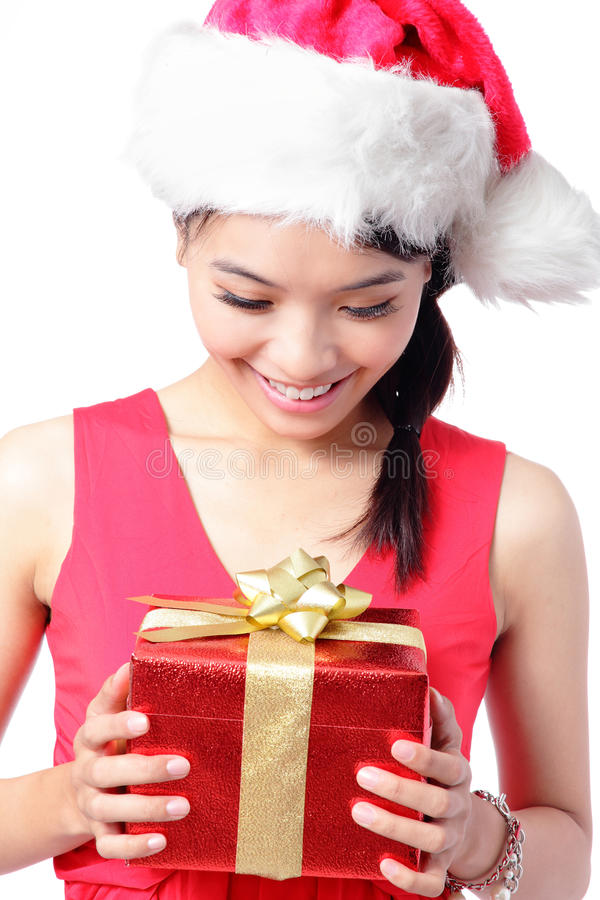 Download Close Up Of Girl Happy Look Christmas Gift Stock Photo - Image: 26543136