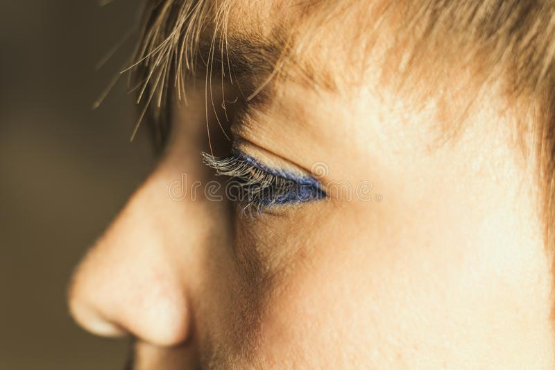 Close-up of a girl`s eyes. Eyes made up with makeup royalty free stock photo