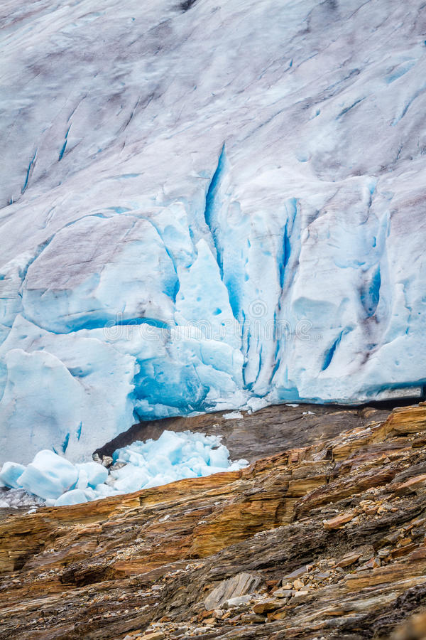 Close up of the glacier Svartisen in Norway. Svartisen is the second largest glacier in Norway and located just north of Mo i Rana royalty free stock image
